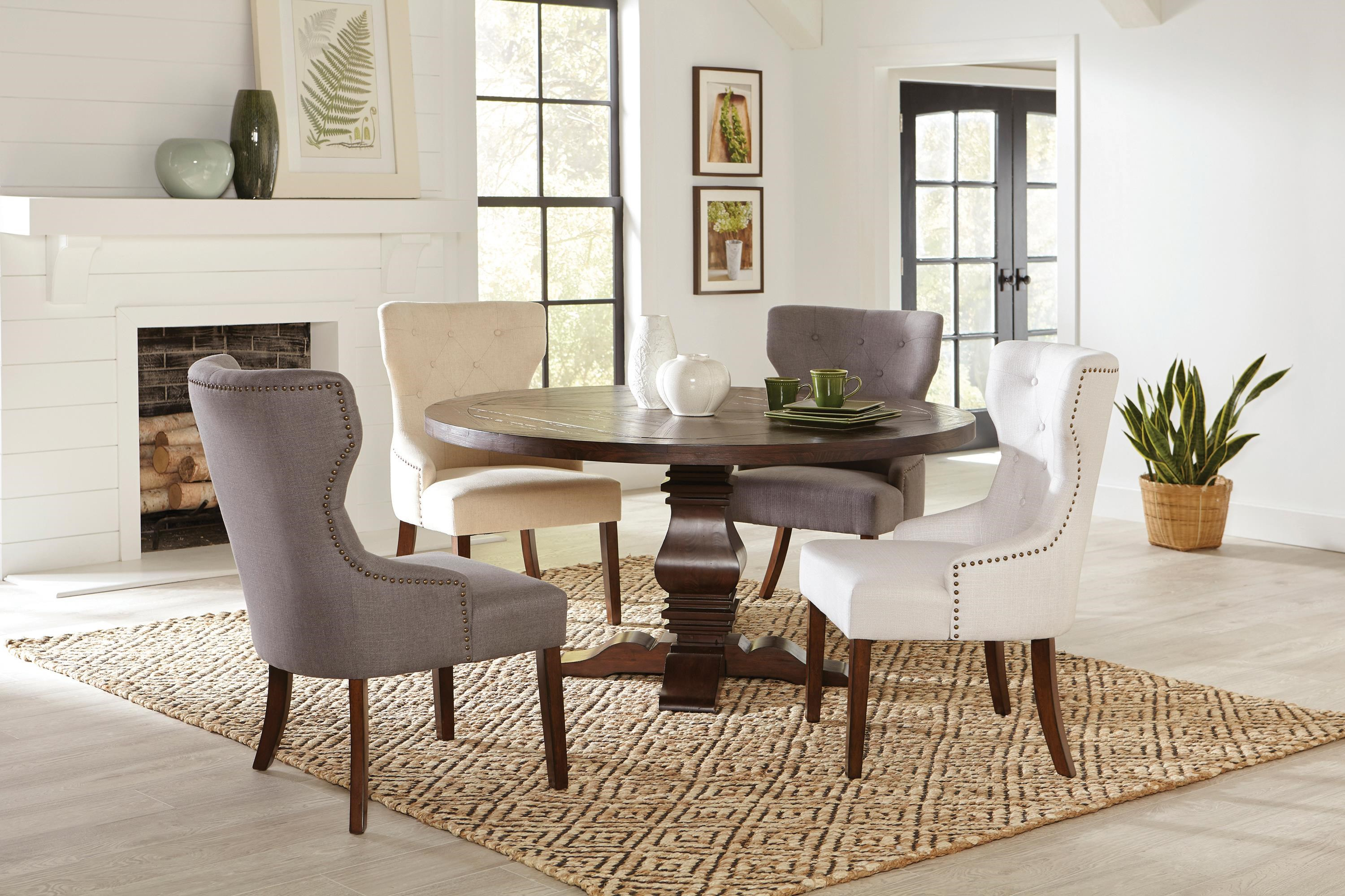 Florence 5-Piece Round Dining Set w/ Grey Chairs by Coaster at Beck's Furniture