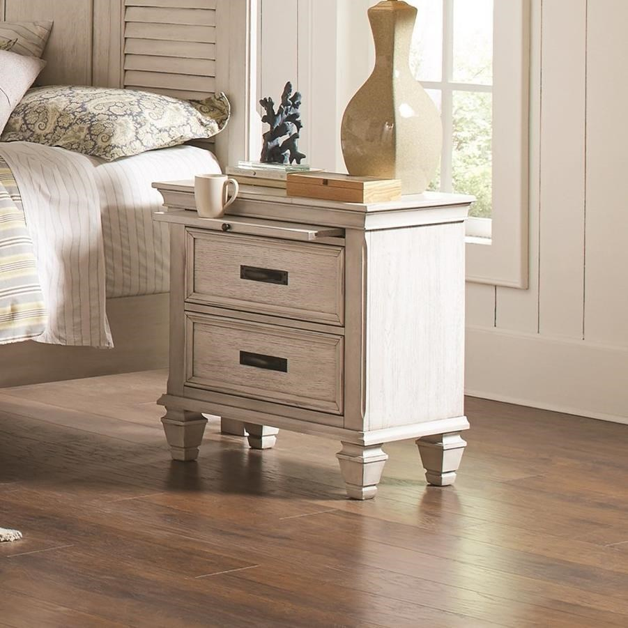 Coaster Franco 2 Drawer Nightstand With Pull Out Tray