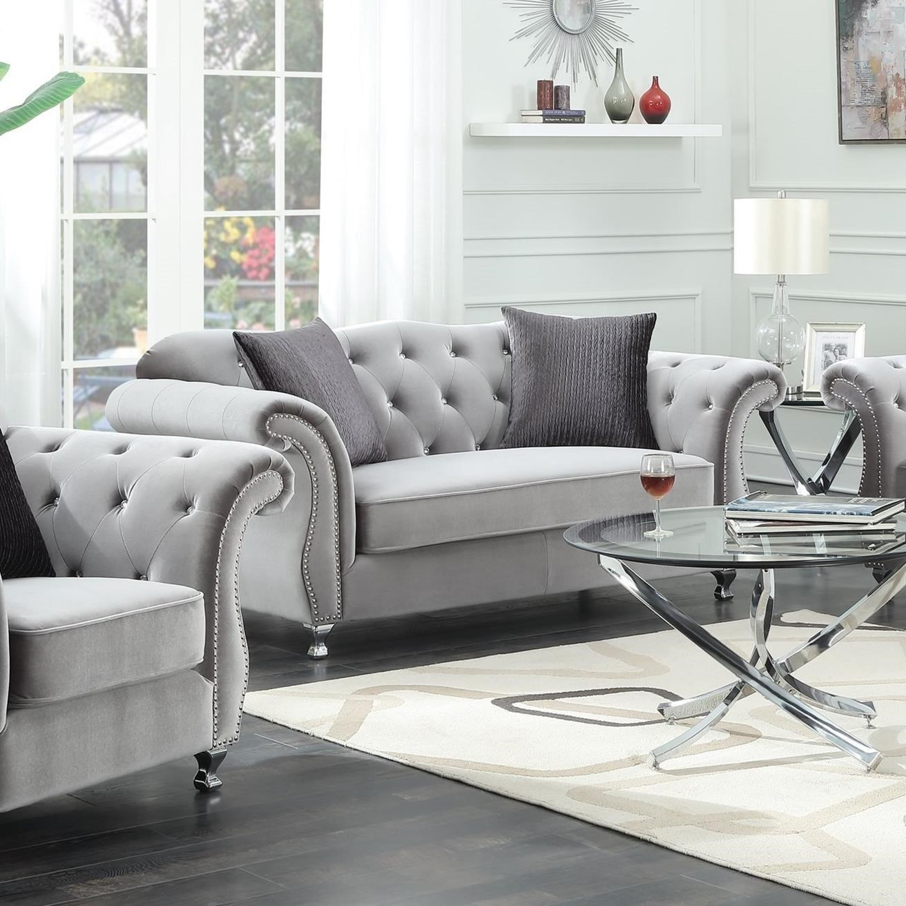 Online Couches: Coaster Frostine Glamorous Loveseat With Tufted Side Frame