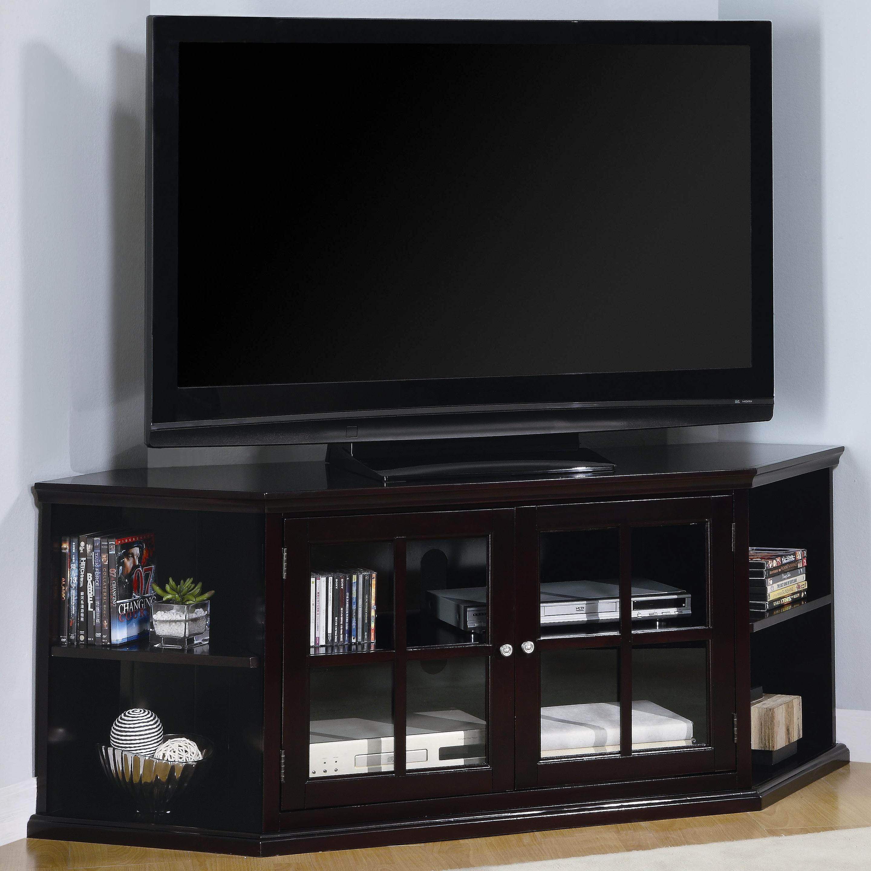 Fullerton Transitional Corner Media Unit With Gl Doors By Coaster