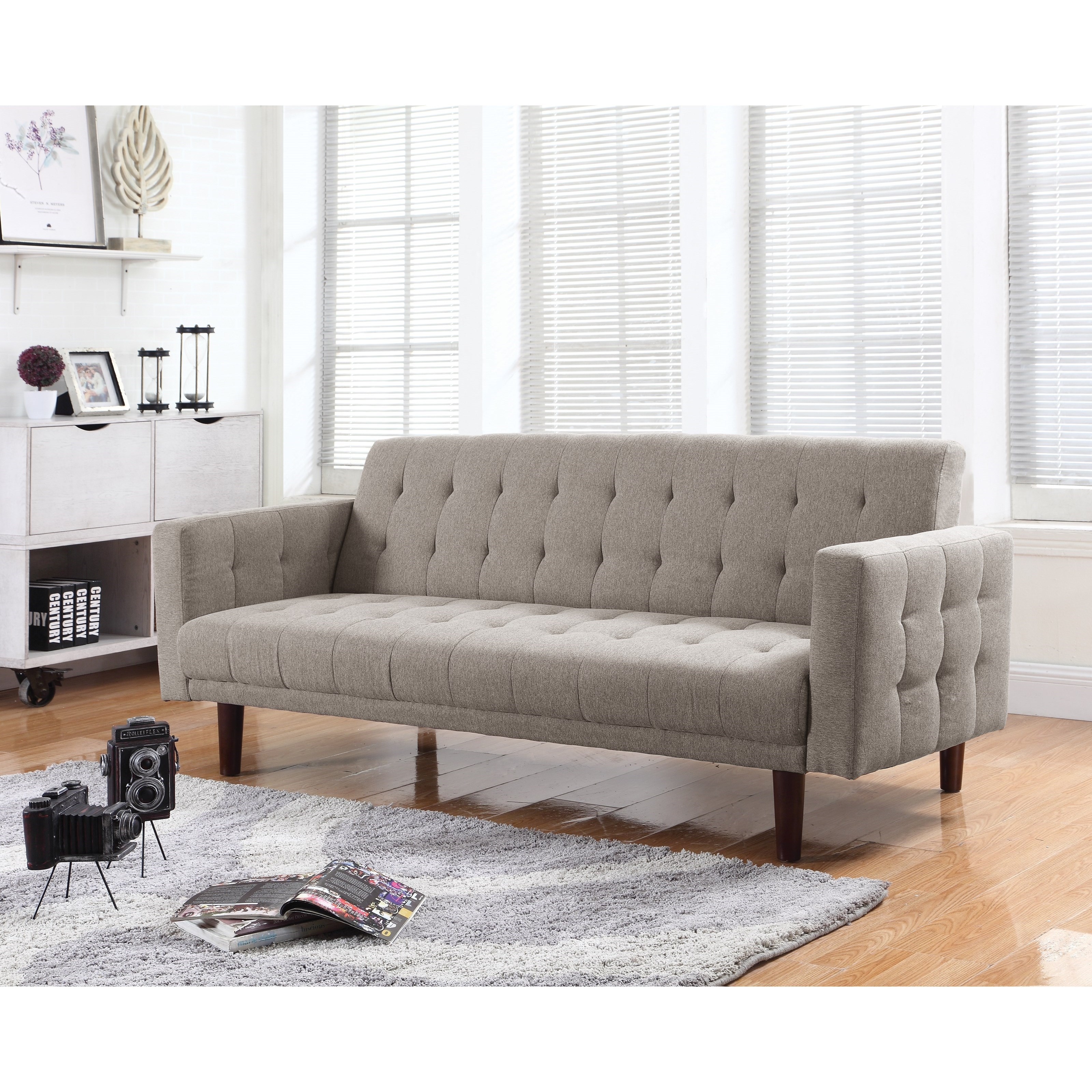 coaster futons sofa bed   item number  503976 coaster futons 503976 button tufted sofa bed with chenille      rh   dunkandbright