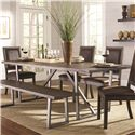 Coaster Genoa Rustic Table and Chair Set with Dining Bench
