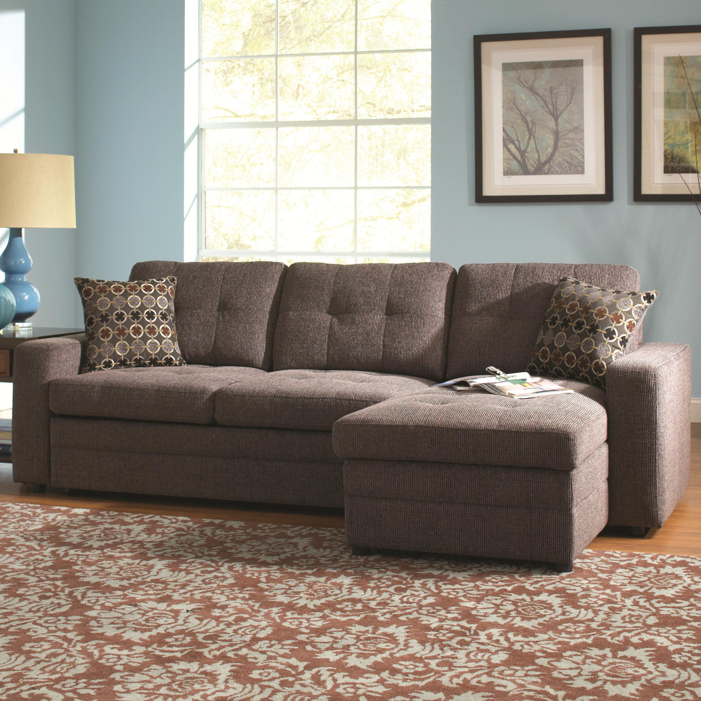 Gus Sectional Sofa With Tufts Storage And Pull Out Bed By Coaster