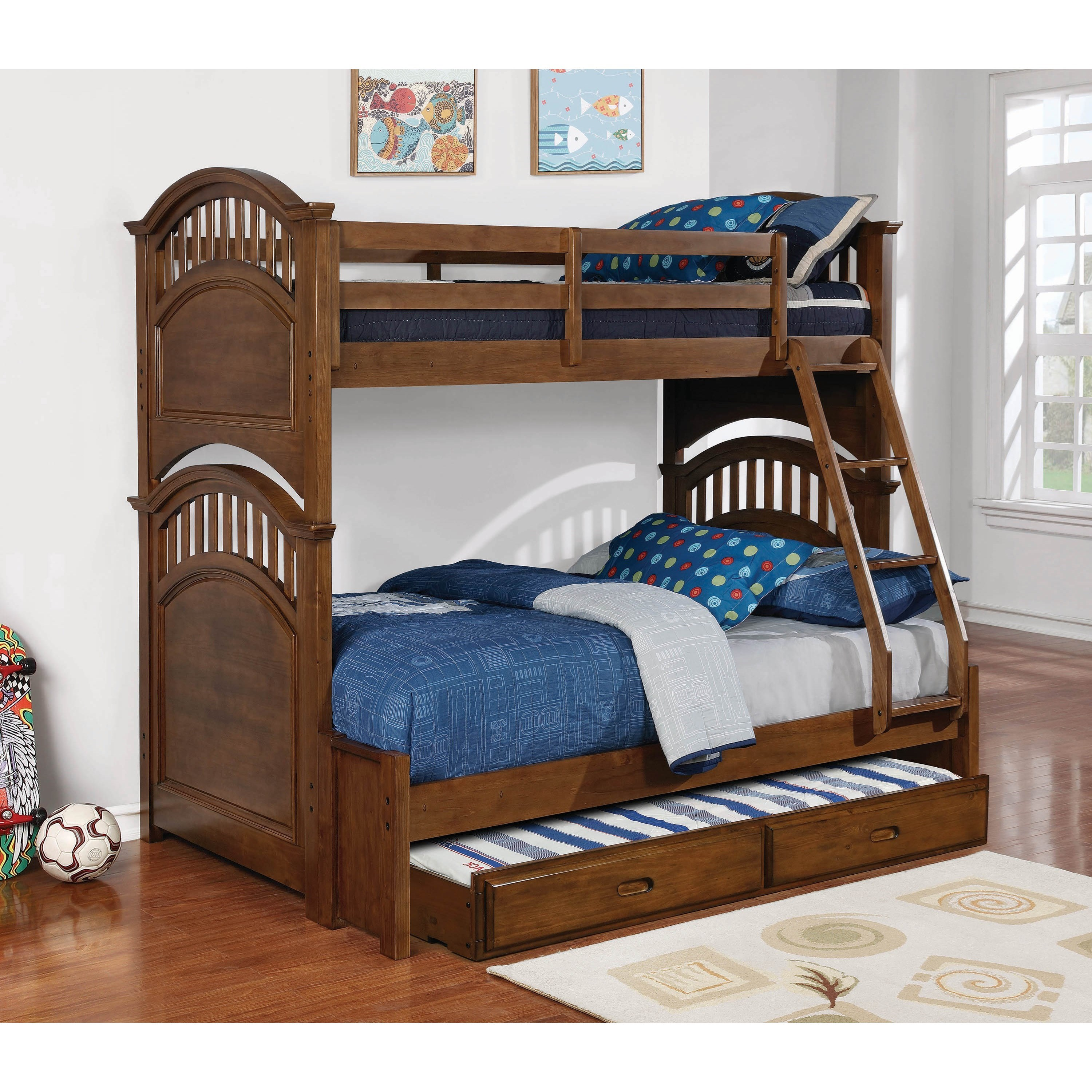 Halsted Twin over Full Bunk Bed w/ Storage Trundle