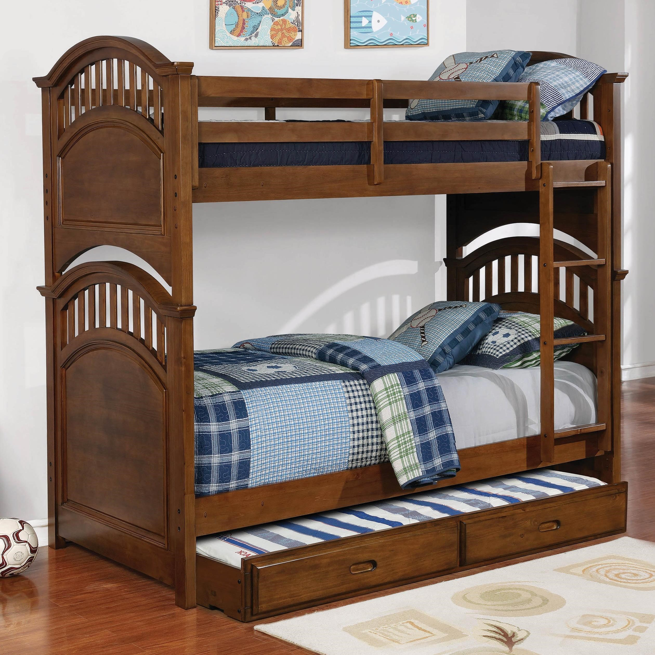 Coaster Halsted Casual Wooden Twin Over Twin Bunk Bed W Storage