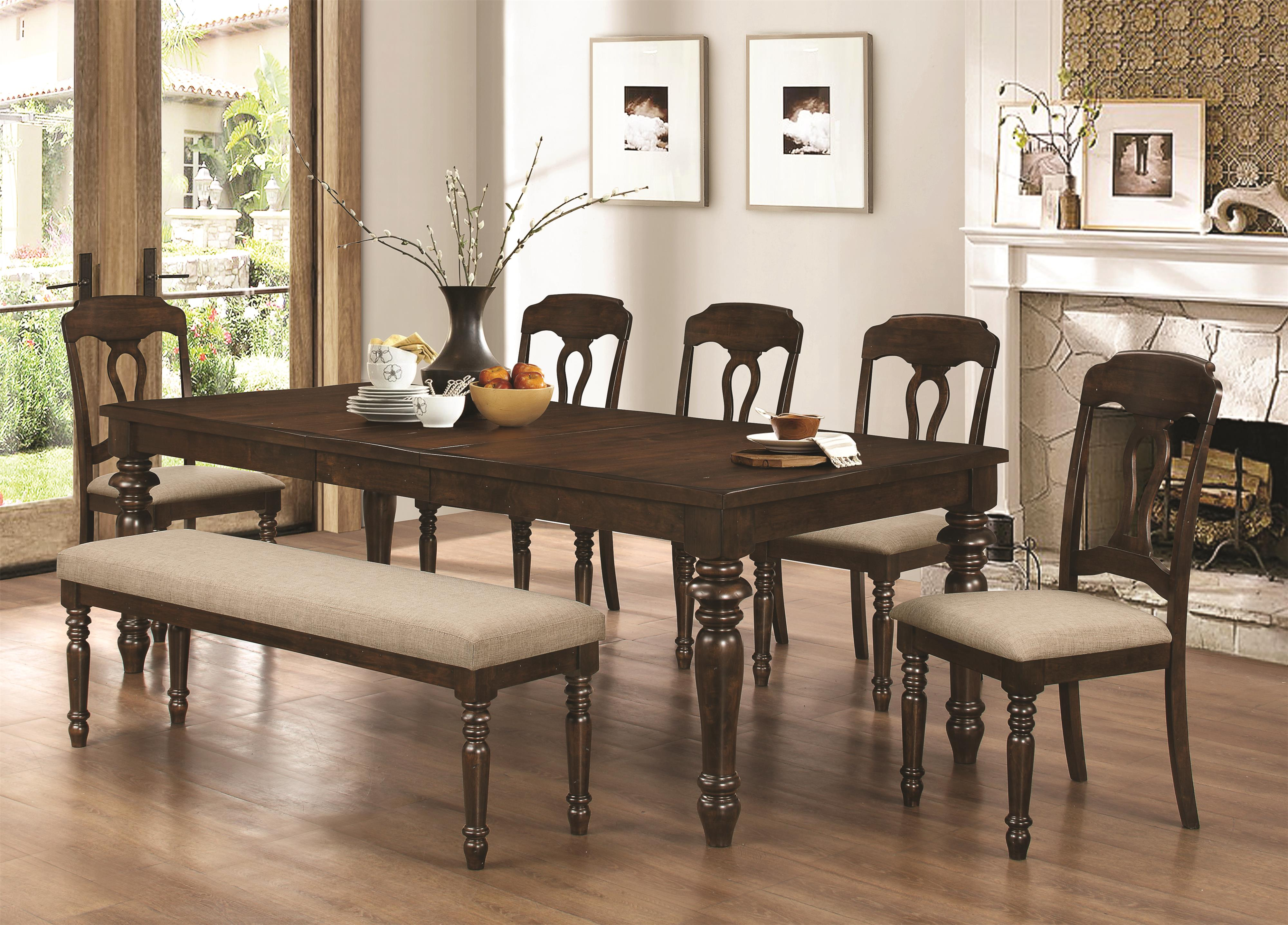 Coaster Hamilton 7 Piece Dining Set with Bench - Item Number: 106351+5x106352+106353