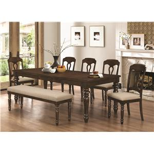Coaster Hamilton 7 Piece Dining Set with Bench