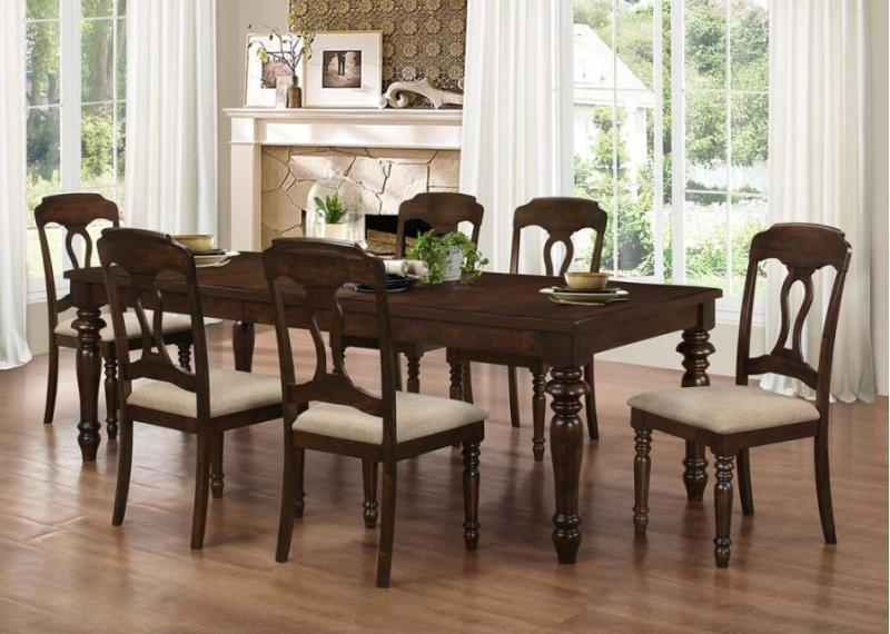 Coaster Hamilton 7 Piece Dining Set with Side Chairs - Item Number: 106351+6x106352