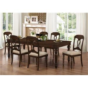 Coaster Hamilton 7 Piece Dining Set with Side Chairs