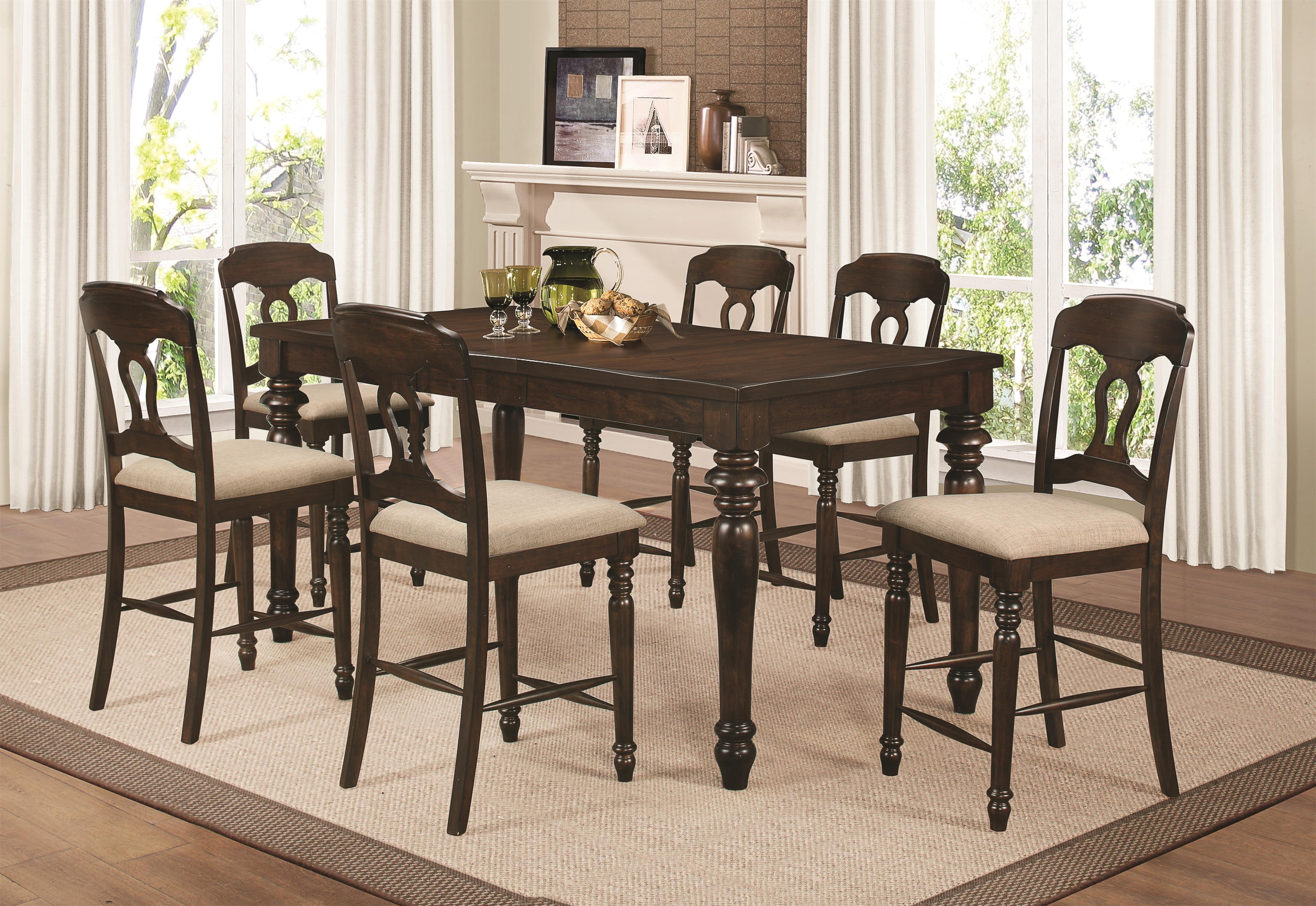 Coaster Hamilton 7 Piece Counter Height Dining Set - Item Number: 106358+6x106359