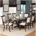 Coaster Harris Single Pedestal Dining Table - 104111 - Shown with Arm Chairs and Side Chairs