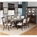 Coaster Harris Single Pedestal Dining Table - Shown in Room Setting with Arm Chairs, Side Chairs, Buffet and Hutch
