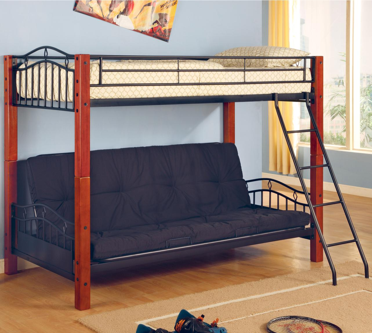 Coaster Haskell Metal And Wood Casual Twin Over Futon Bunk