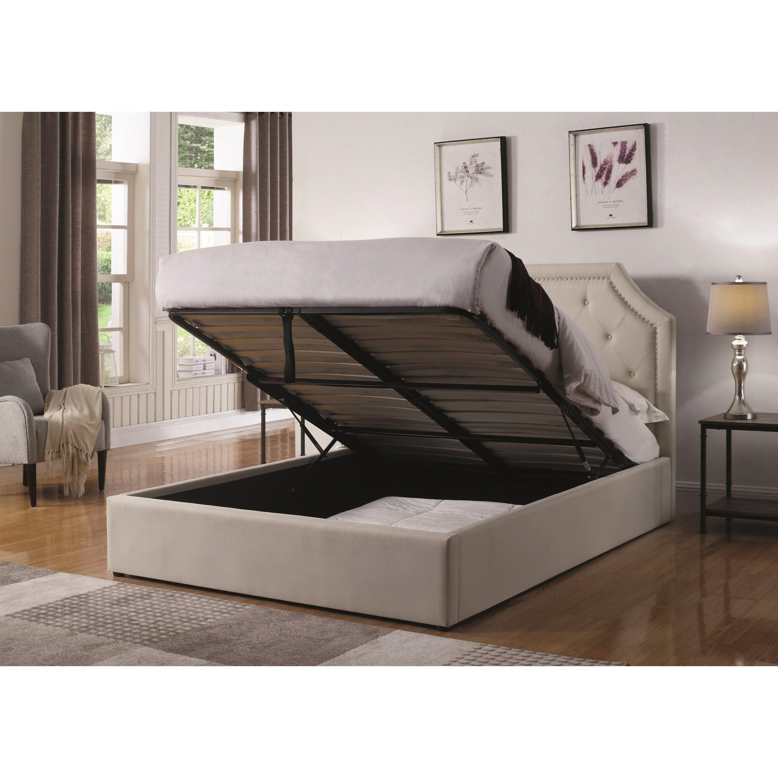 Hydraulic Lift Storage Bed Twin : Coaster hermosa t twin upholstered bed with