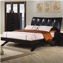 Coaster Phoenix Contemporary Faux Leather Queen Upholstered Arc Bed - Bed Shown May Not Represent Size Indicated