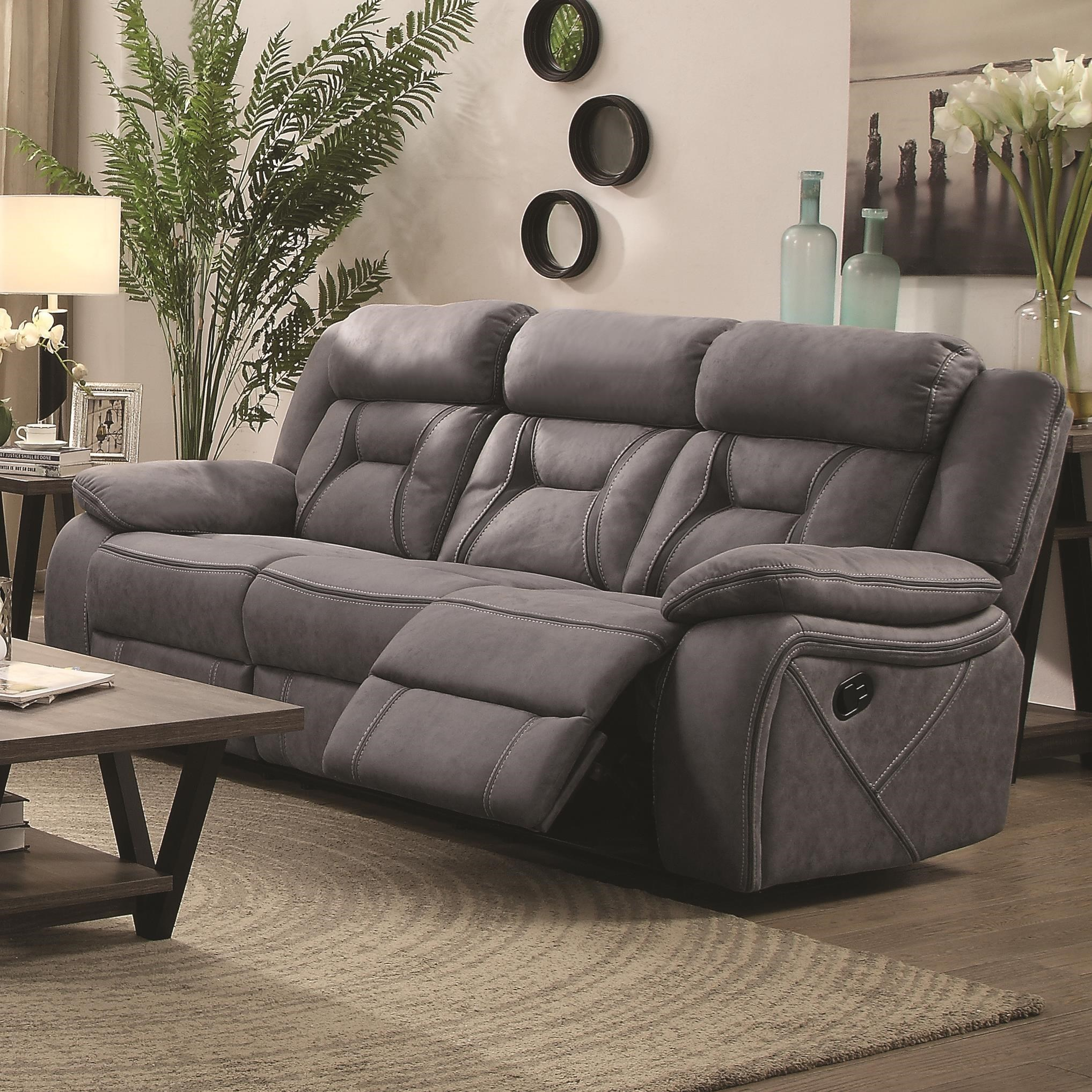 Coaster Houston Casual Pillow Padded Reclining Sofa With Contrast Stitching Value City