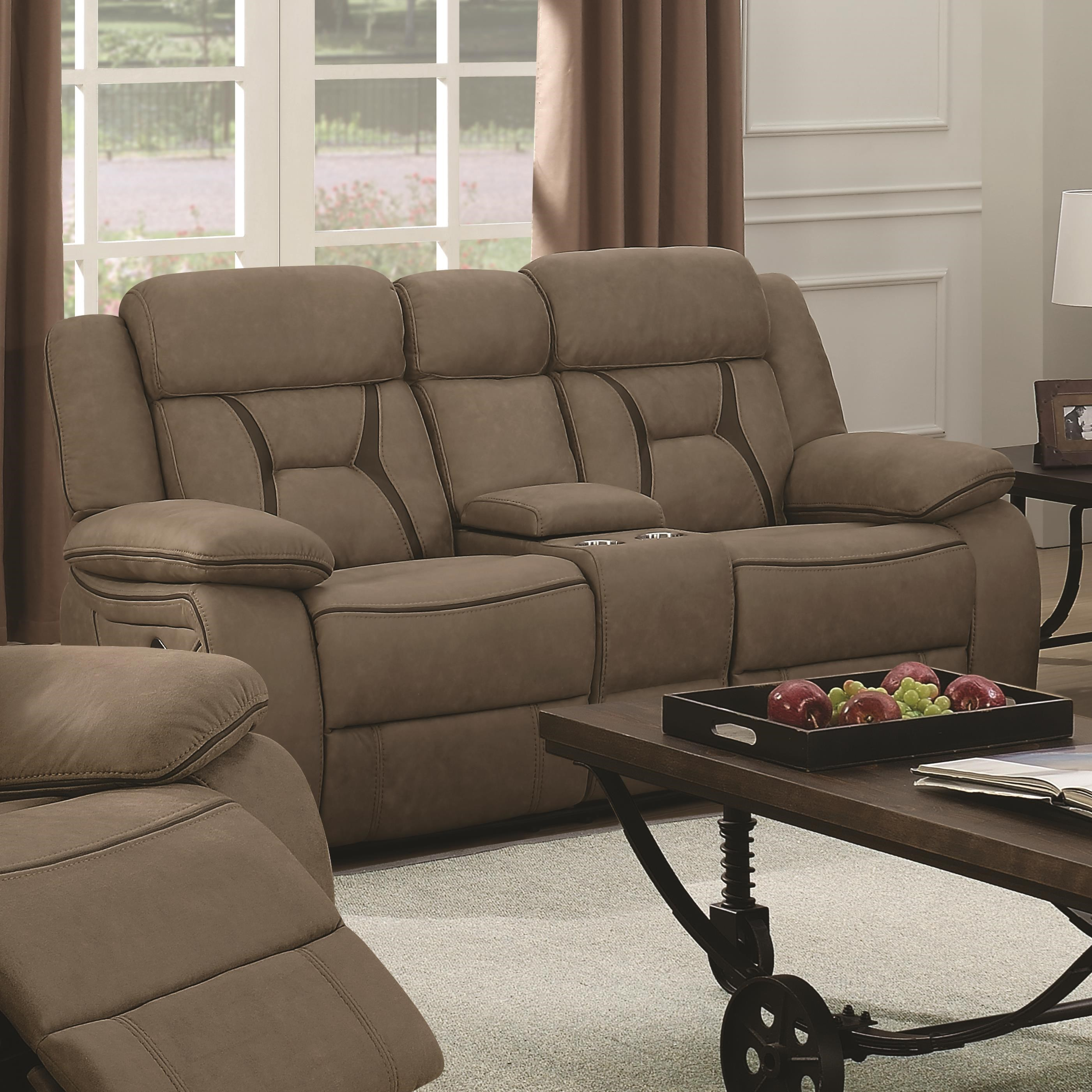 Coaster Houston Casual Pillow Padded Reclining Loveseat