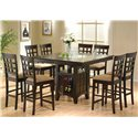 "Coaster Mix & Match Counter Height Dining Table with Storage Pedestal Base - 100438 - Shown with 24"" Wheat Back Bar Stools"