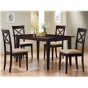 Coaster Mix & Match Cross Back Dining Chair with Fabric Seat - 100774 - Shown with Dining Table