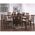 Coaster Mix & Match Counter Height Dining Table with Storage Pedestal Base - Shown with Wheat Back Chairs