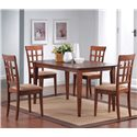 Coaster Mix & Match Rectangle Leg Dining Table - Shown with Wheat Back Dining Chairs