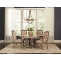 Coaster Ilana Traditional Round Dining Table with Detailed Pedestal