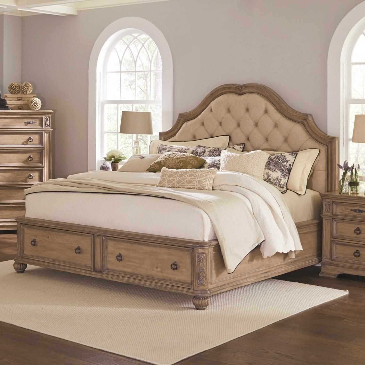 upholstered bedroom set coaster ilana 205070ke king storage bed with upholstered 13697
