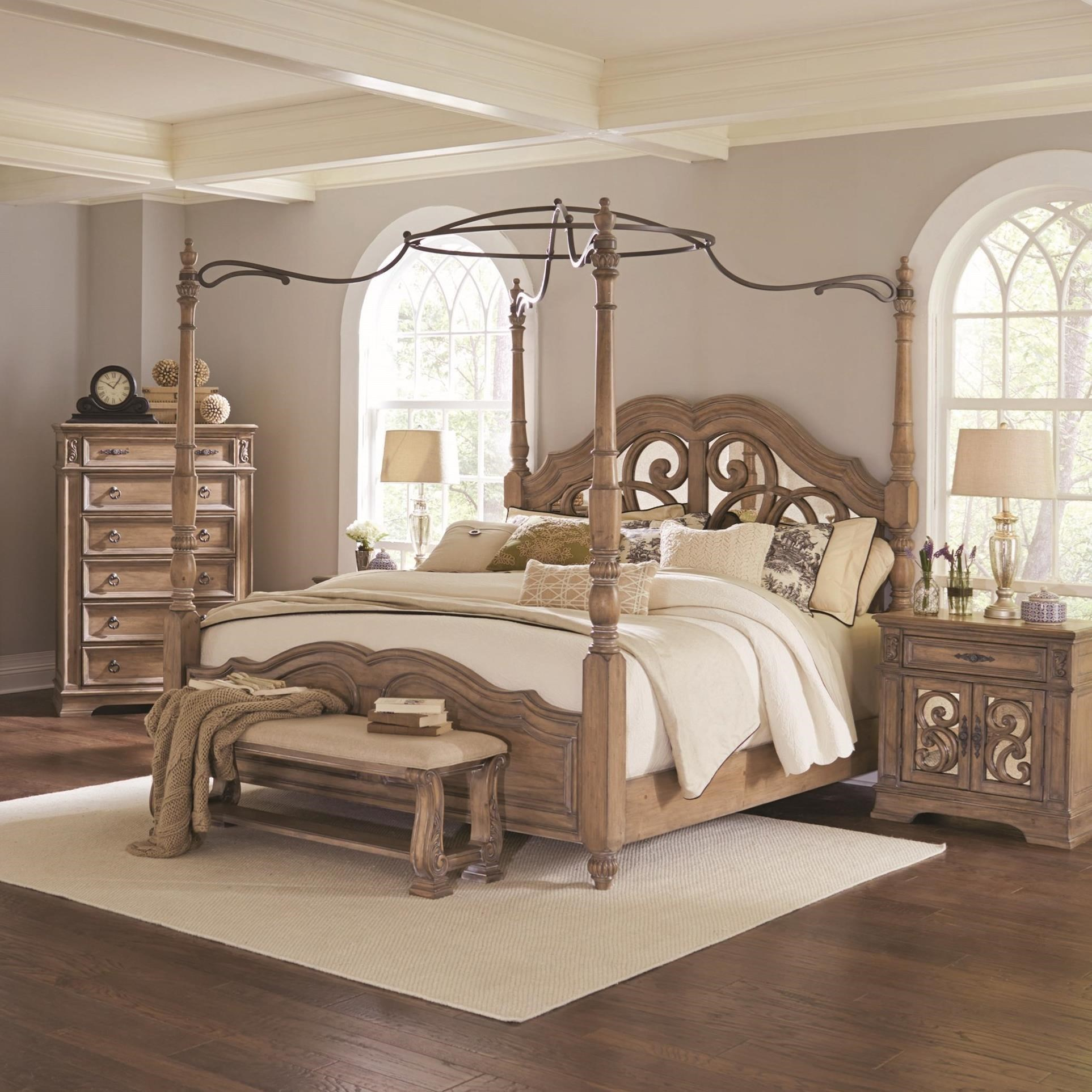Coaster Ilana King Canopy Bed With Mirror Back Headboard