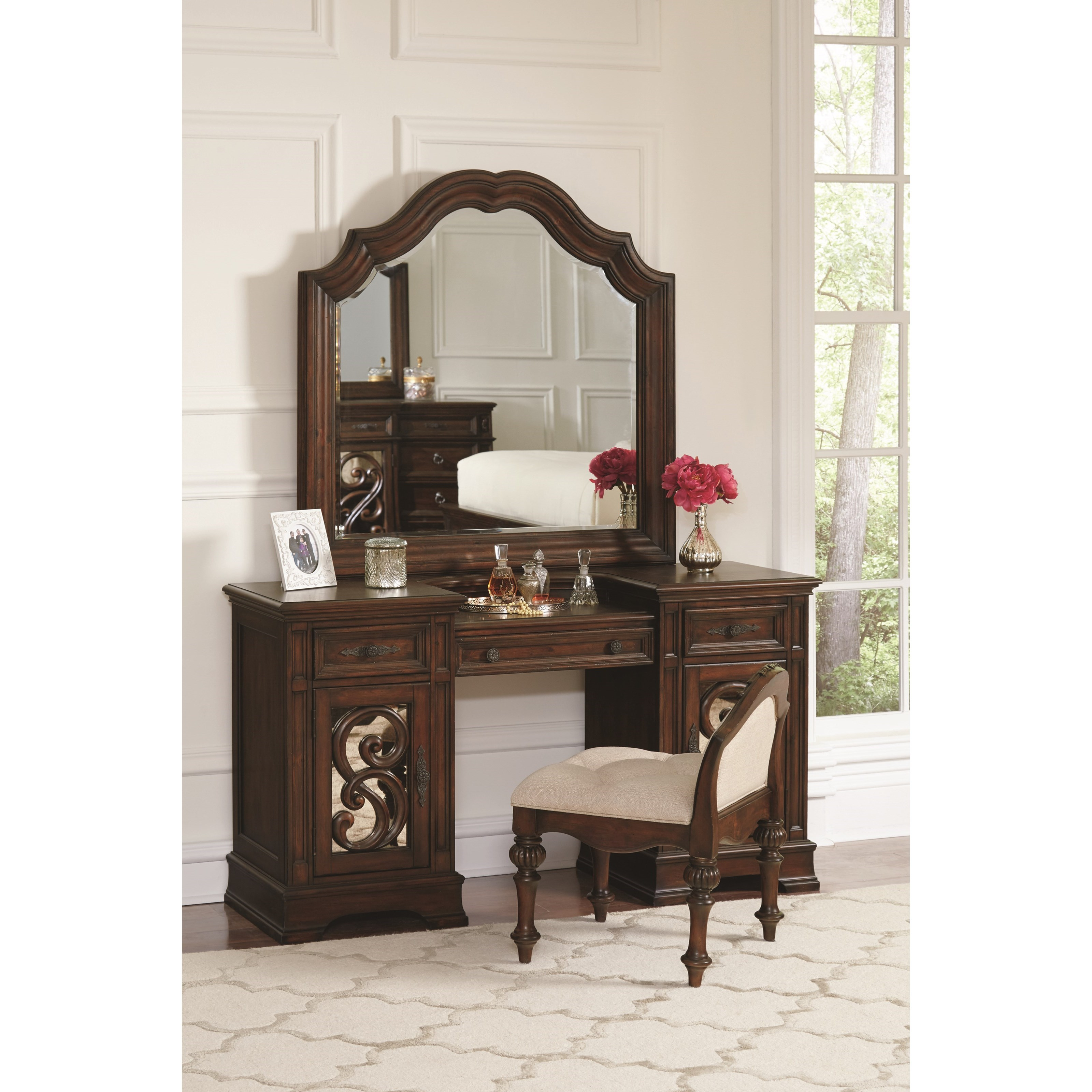 Canopy Style Bed Available For Order In These Wood Colours: Coaster Ilana 205289 Vanity Mirror With Wood Frame