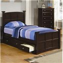 Coaster Jasper Tall Chest with 5 Drawers  - Shown with Twin Storage Bed