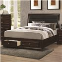 Coaster Jaxson California King Bed with Upholstered Headboard and Storage Footboard - Shown with Storage Footboard Drawer Open
