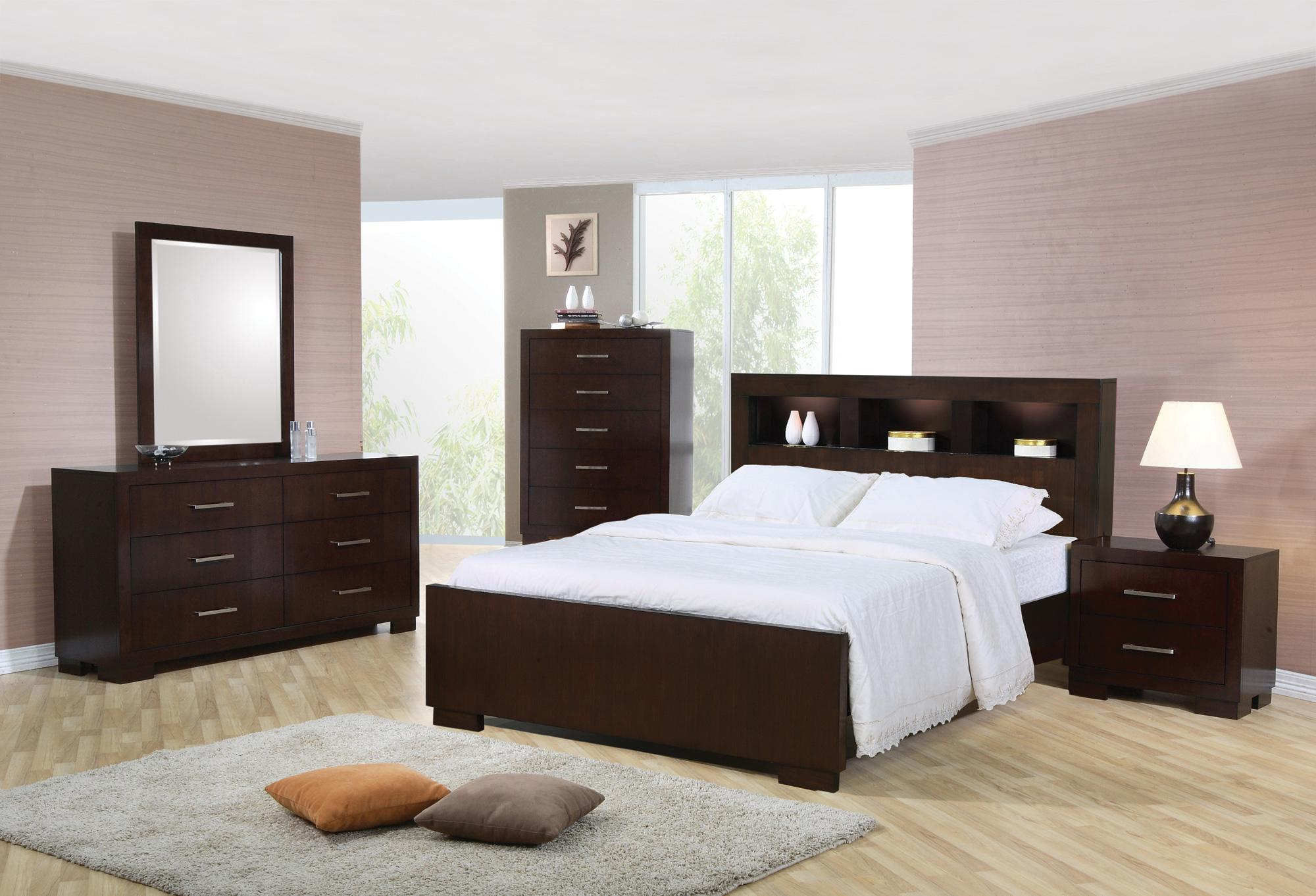 Cal King Bookcase Headboard: Coaster Jessica Queen Contemporary Bed With Storage