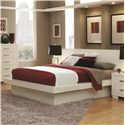 Coaster Jessica King Platform Bed with Rail Seating and Lights - Shown with Piers and Nightstands