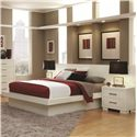 Coaster Jessica Queen Platform Bed with Rail Seating and Lights - Shown with Piers and Nightstands