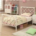 Coaster Juliette Twin Bed w/ Metal Headboard & Footboard w/ Pink Quatrefoil Motifs - 300344T
