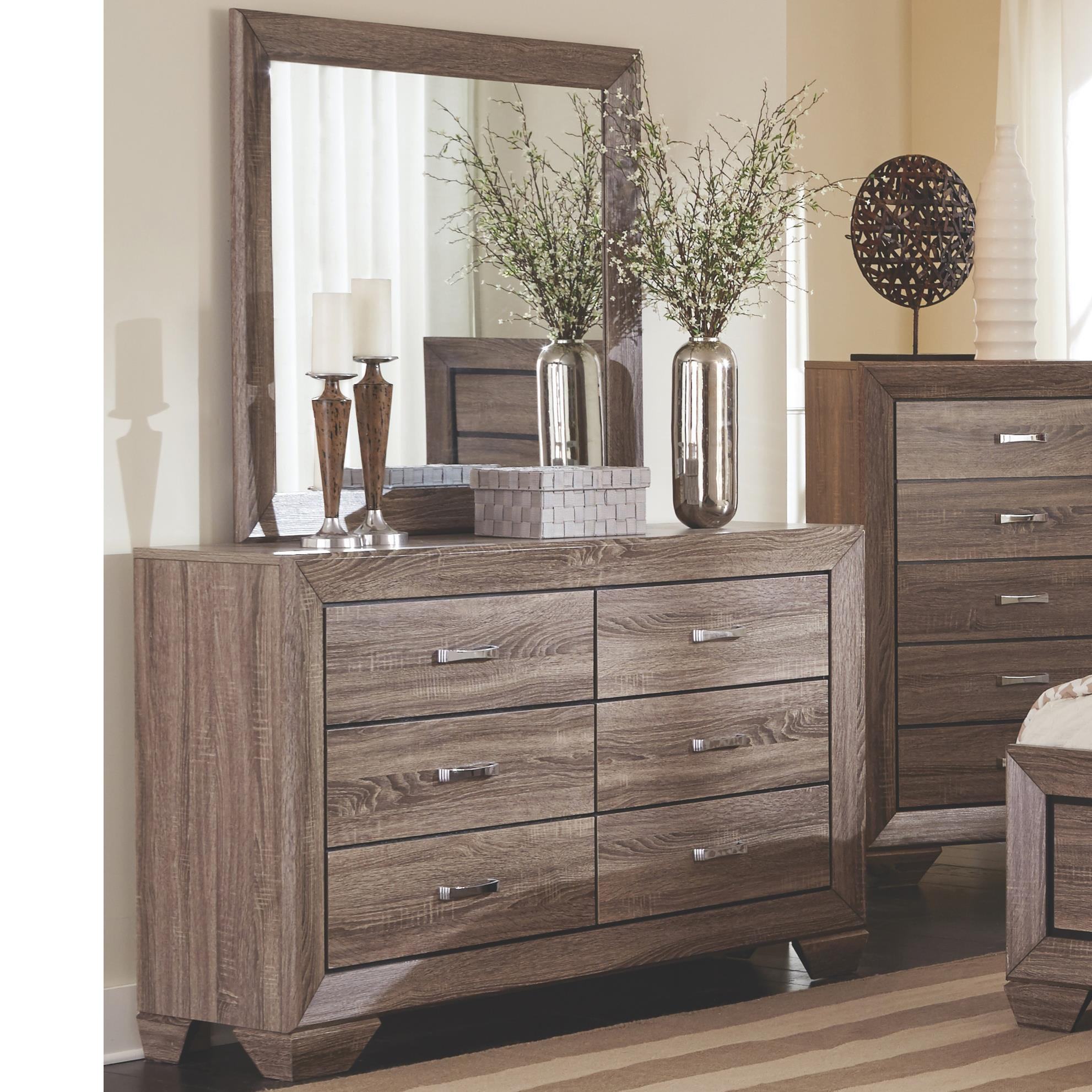 Coaster Kauffman Dresser With 6 Drawers And Mirror Set Rife S Home Furniture Dresser Mirror Sets