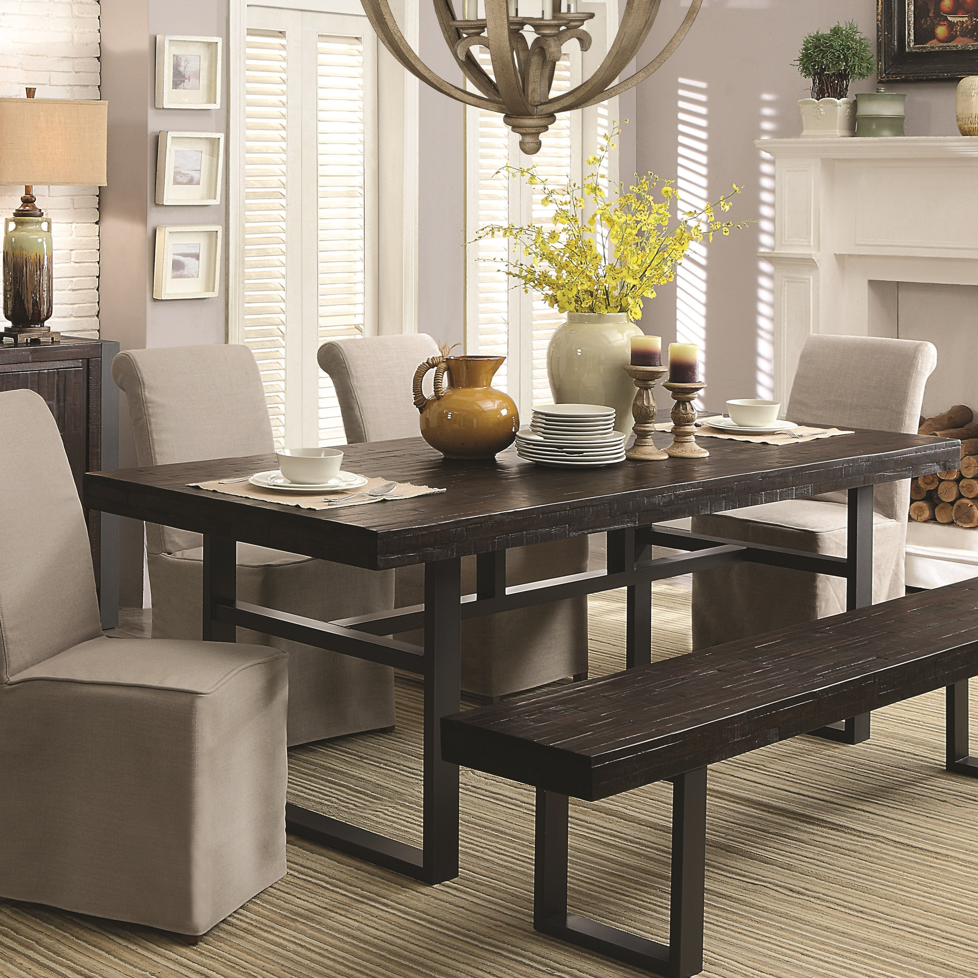 Coaster Keller Contemporary Rectangular Dining Table with Metal ...