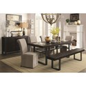Coaster Keller Contemporary Rectangular Dining Table with Metal Pedestals and Trestle