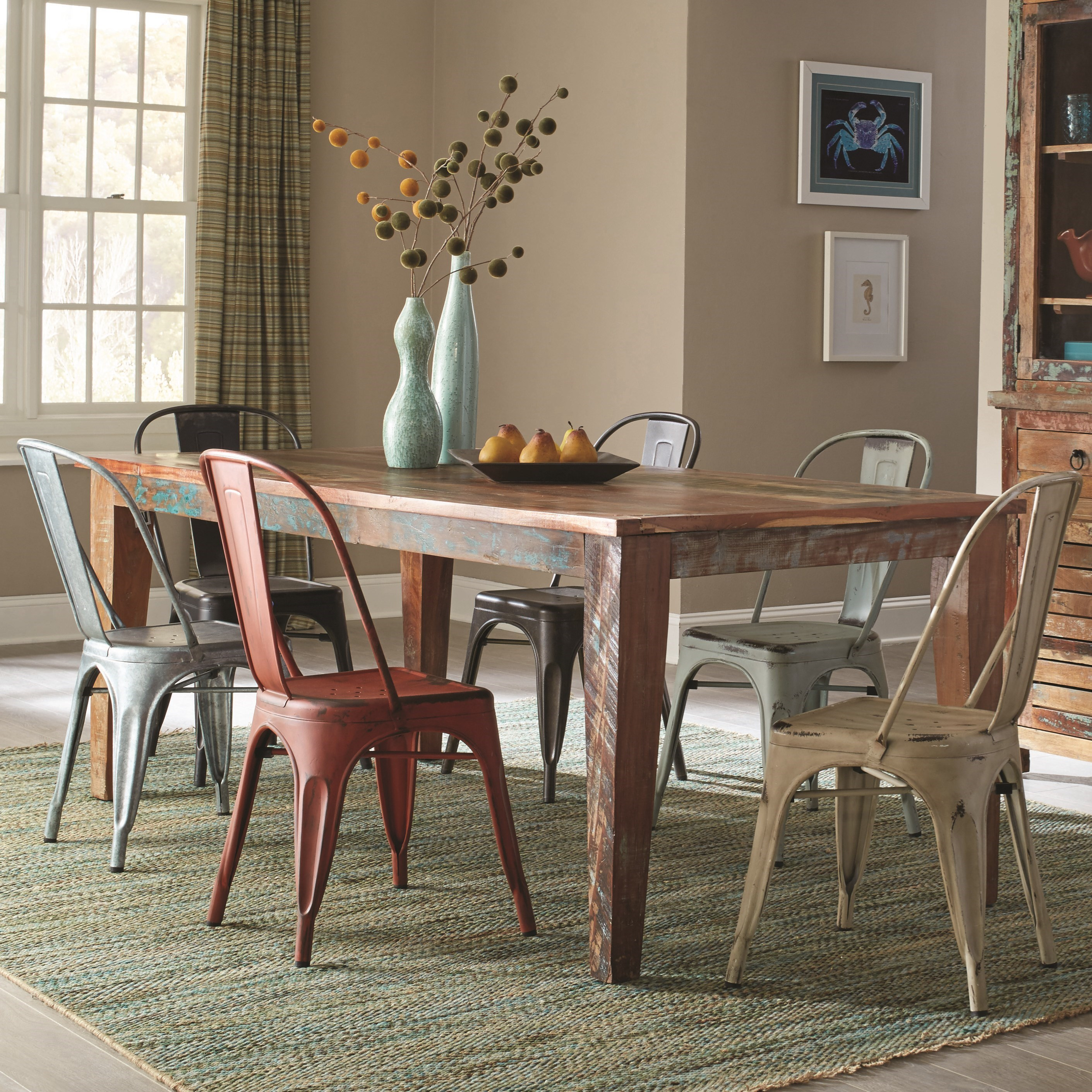 Coaster Keller 7 Piece Table and Chair Set - Item Number: 180161+105612x2+13+14x2+15