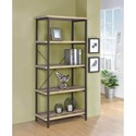Coaster Kemper Industrial Bookcase with Metal Frame