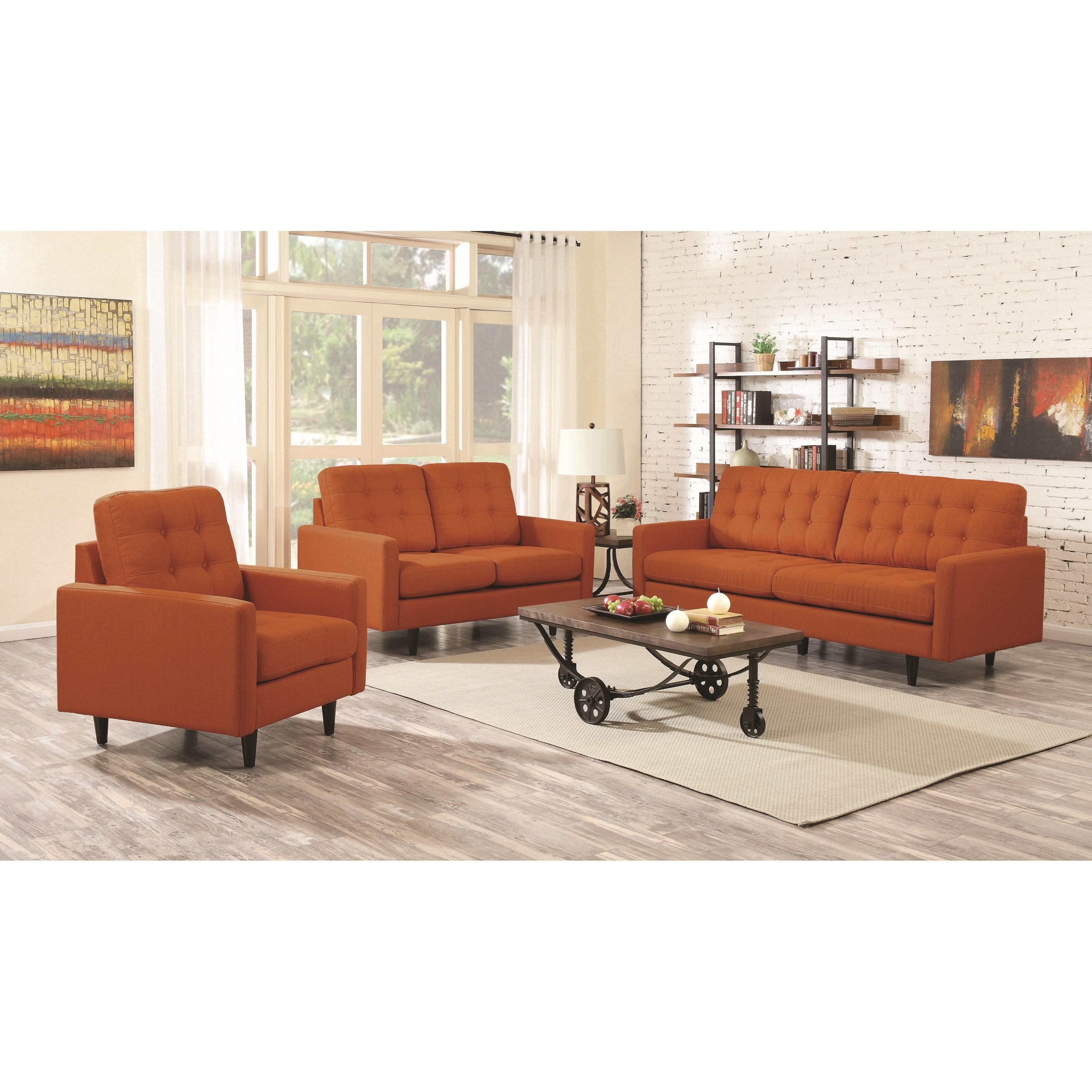 Mid Century Modern Living Room Furniture: Coaster Kesson Mid-Century Modern Living Room Group