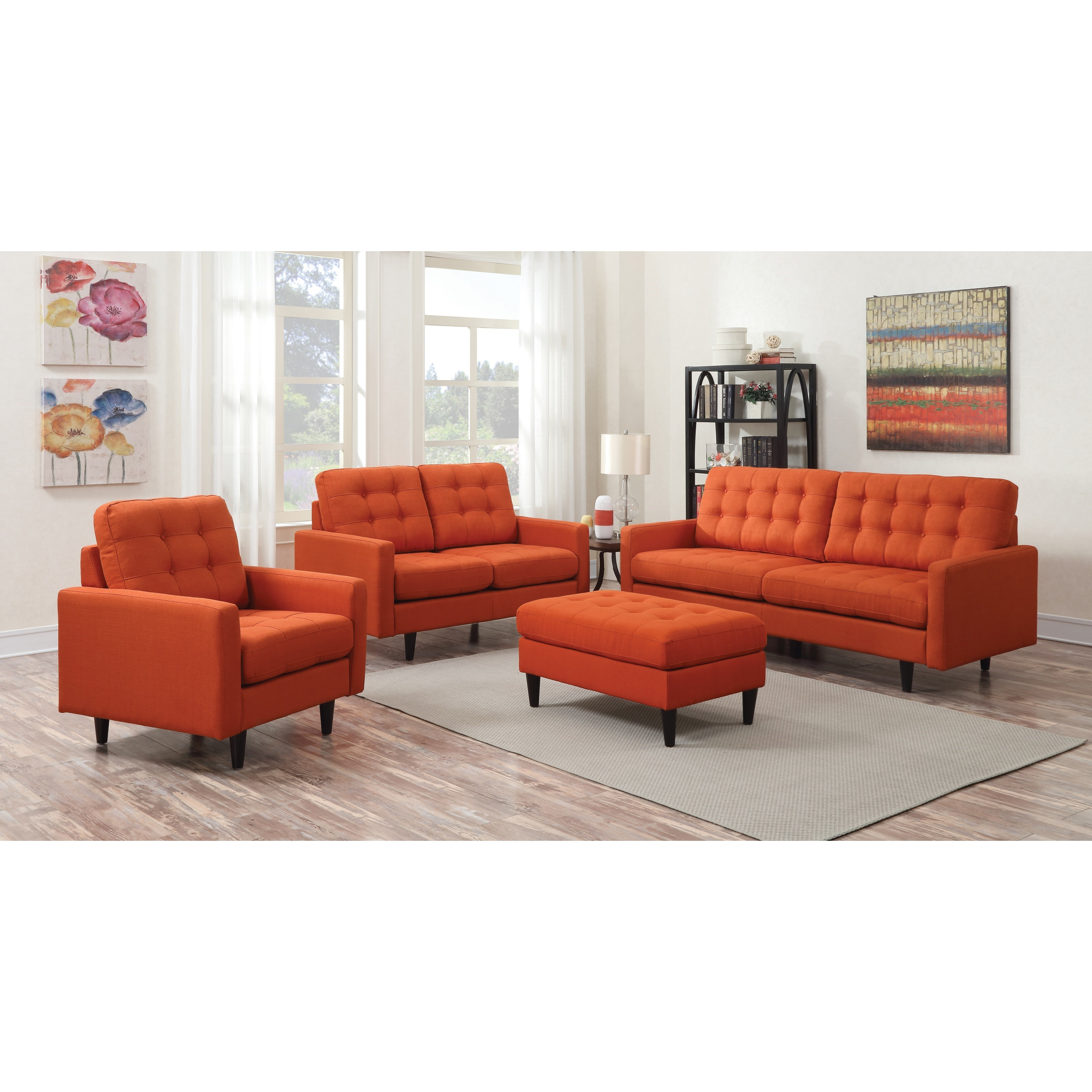orange living room chairs coaster kesson stationary living room sol 13244
