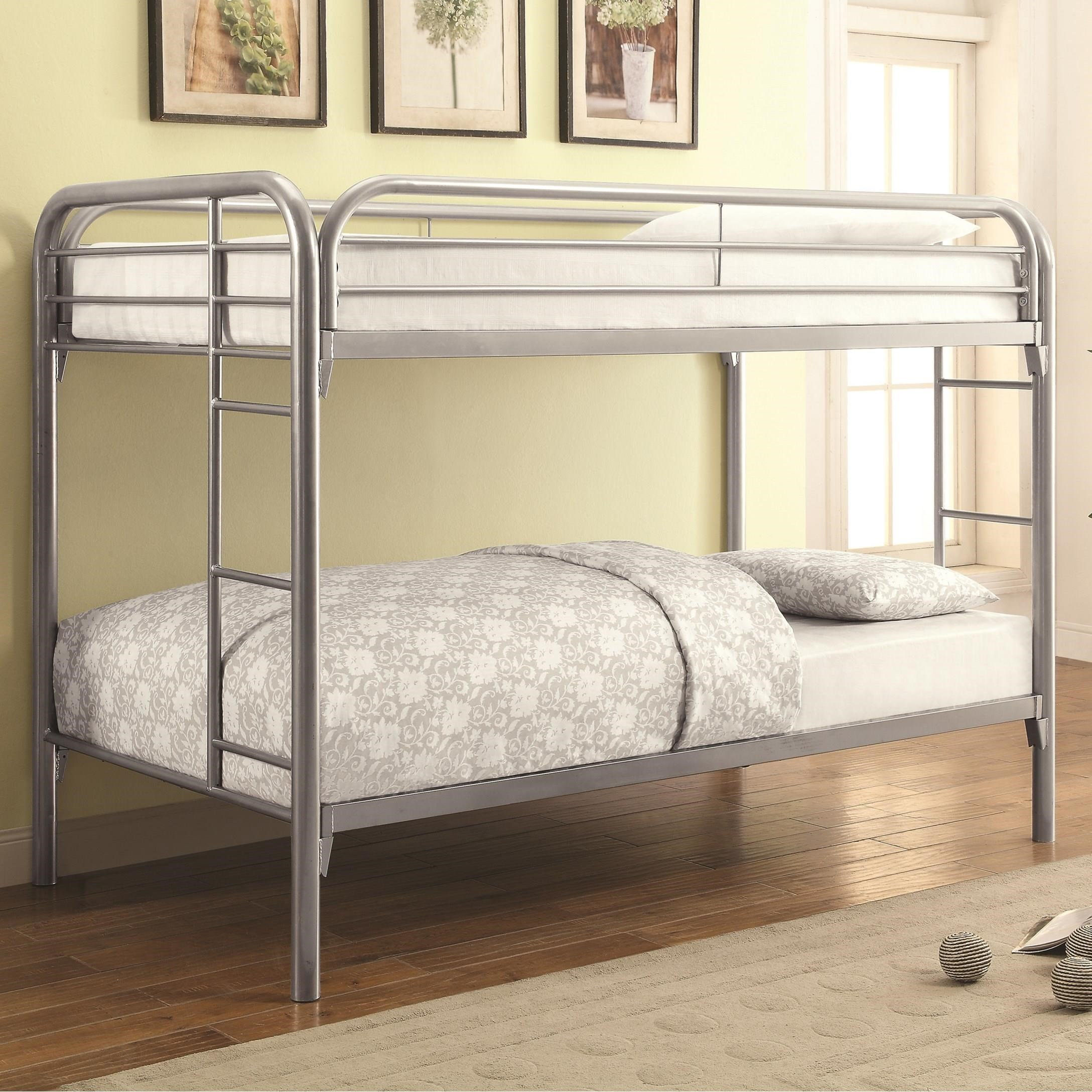Coaster Metal Beds Twin Over Twin Bunk Bed With Built In