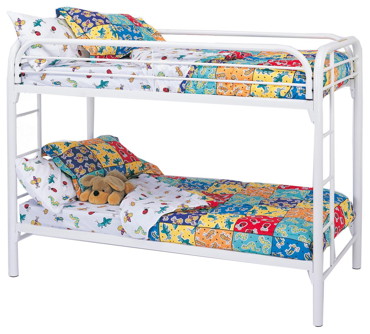 Picture of: Coaster Metal Beds Twin Over Twin Bunk Bed With Built In Ladders A1 Furniture Mattress Bunk Beds