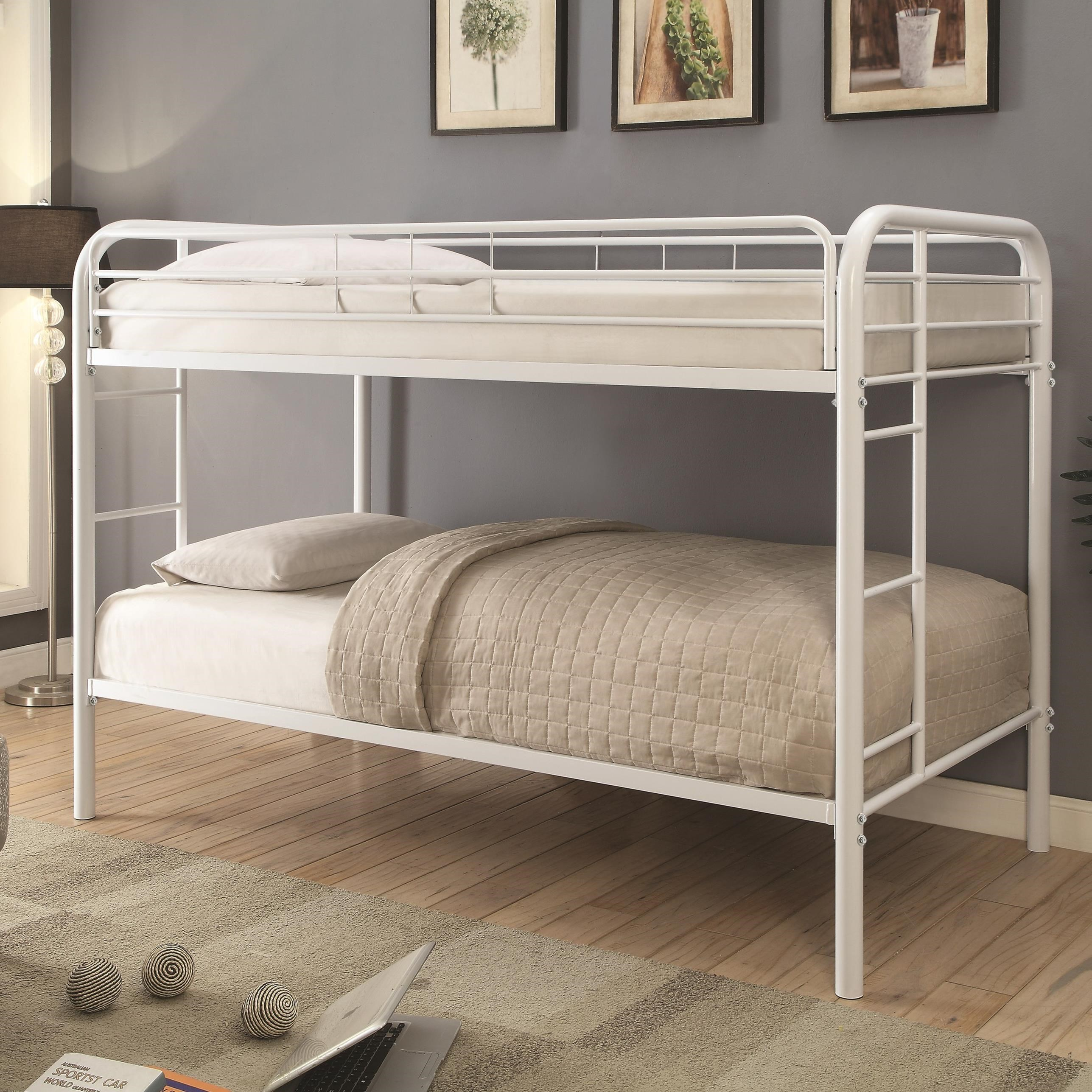 Coaster Metal Beds 460377w Twin Over Twin Bunk Bed With