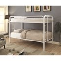 Coaster Metal Beds Twin Over Twin Bunk Bed with Built-In Ladders