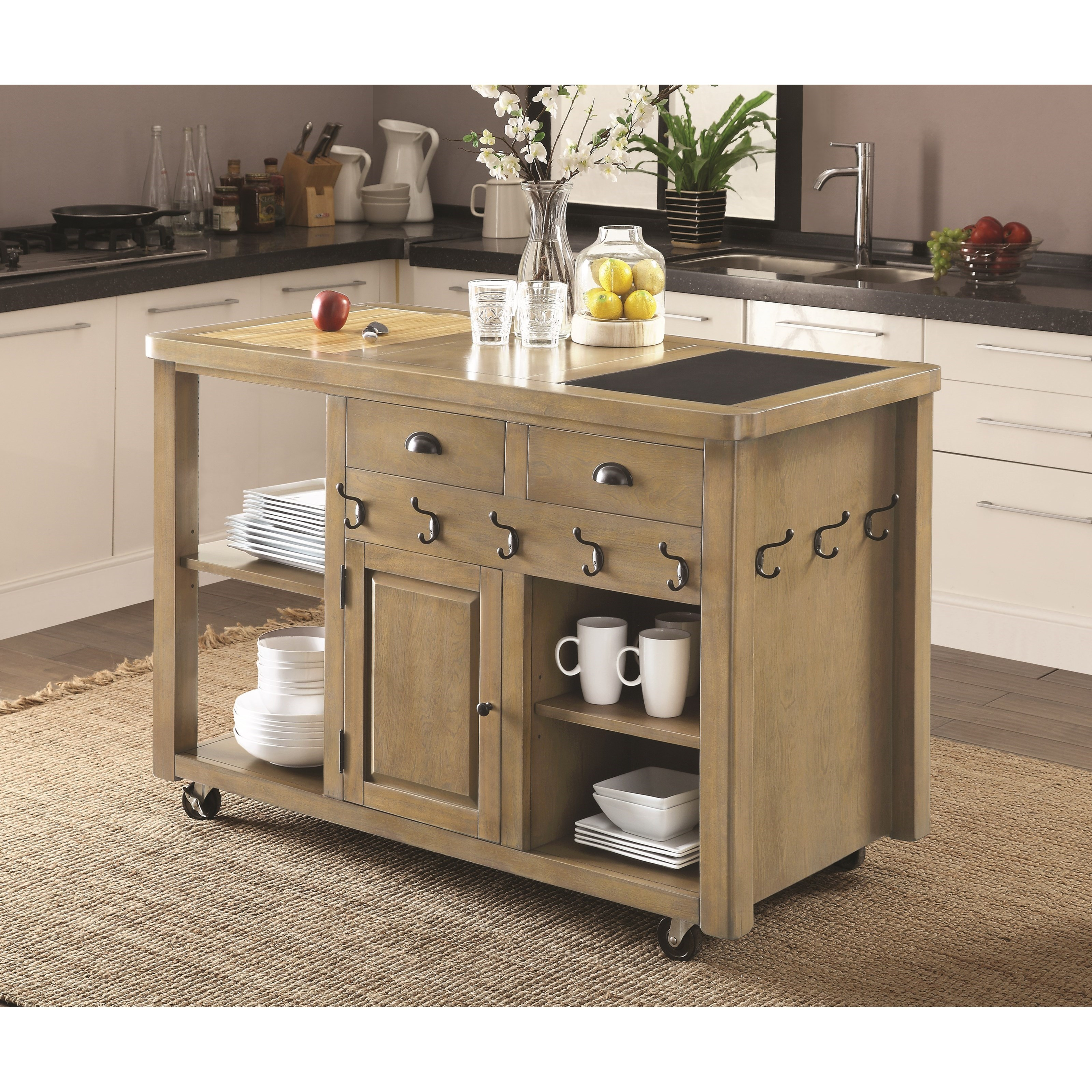 Coaster Kitchen Carts Weathered Kitchen Island with Casters Del