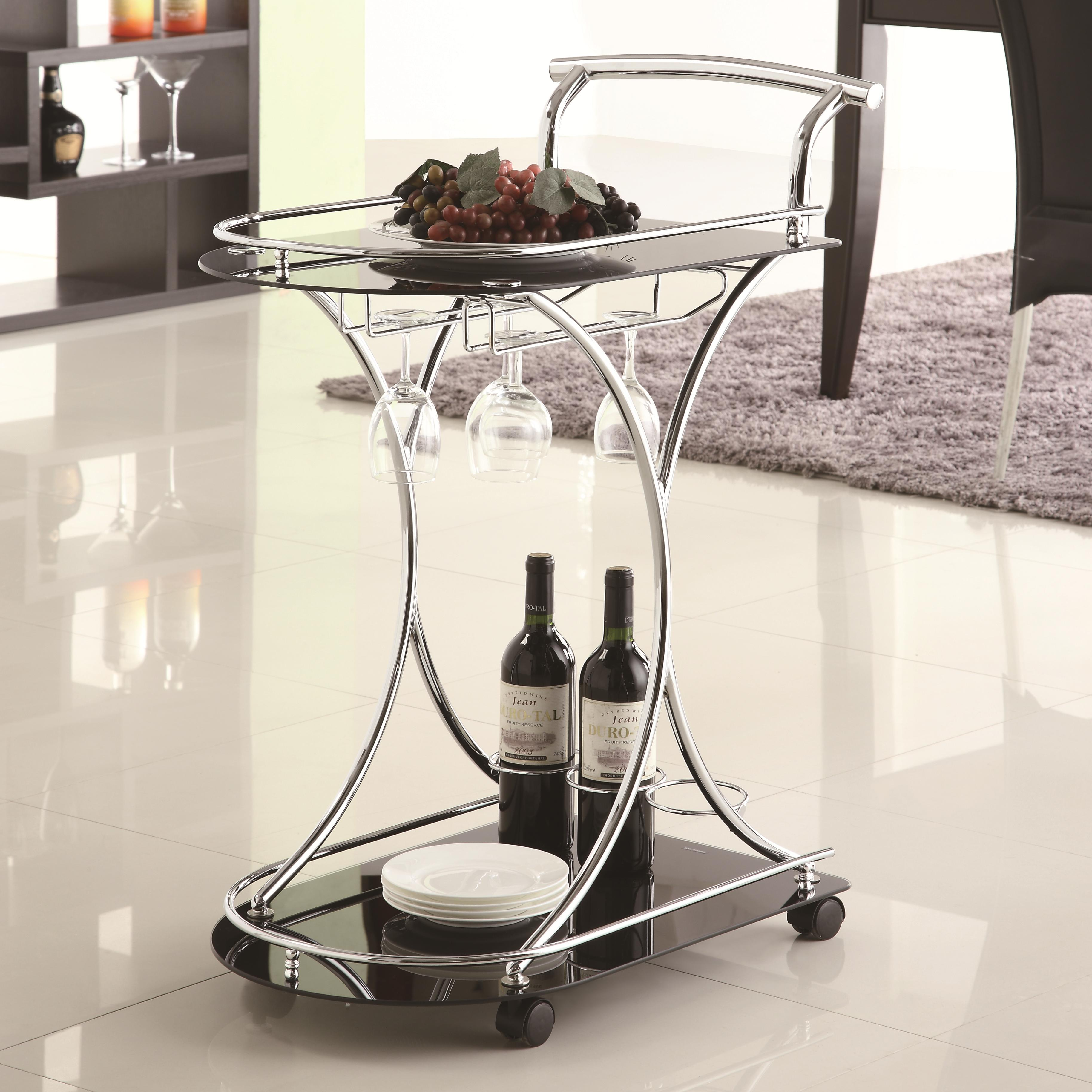 Coaster Kitchen Carts 910001 Serving Cart with 2 Black Glass Shelves ...