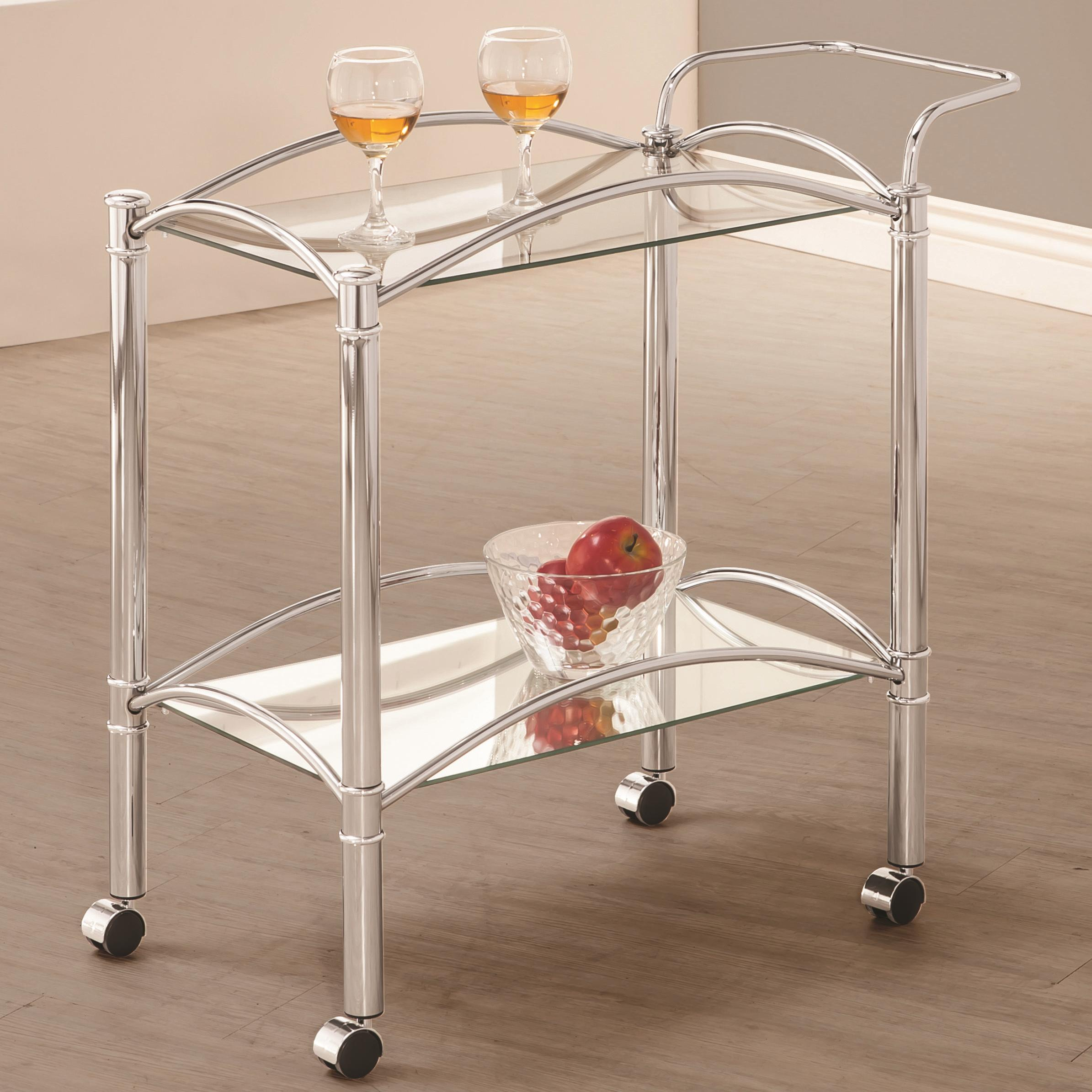 Industrial Kitchen Cart Bar Cart Serving Cart: Coaster Kitchen Carts 910077 Chrome Serving Cart With