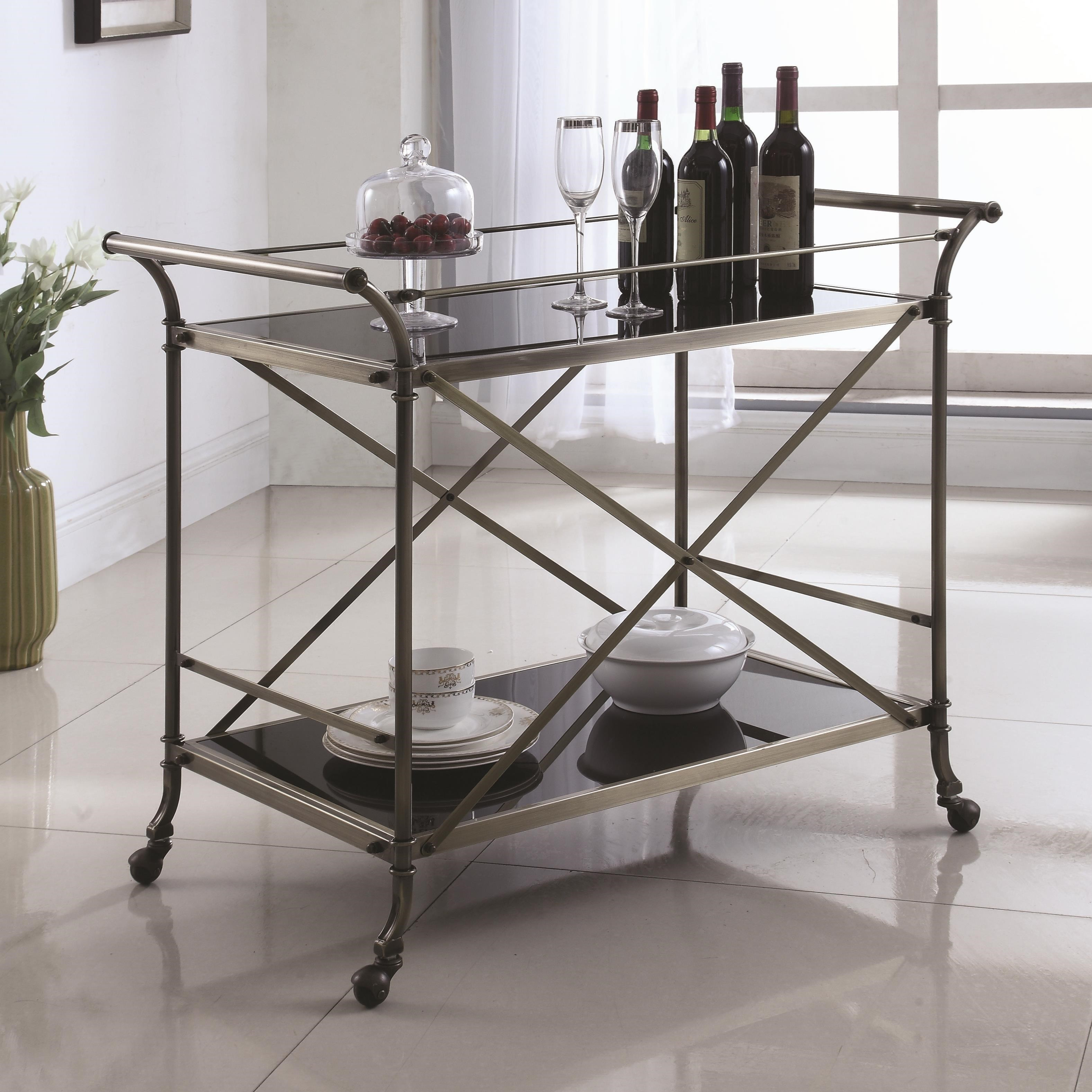 Industrial Kitchen Cart Bar Cart Serving Cart: Coaster Kitchen Carts 910190 Metal Serving Cart With Glass